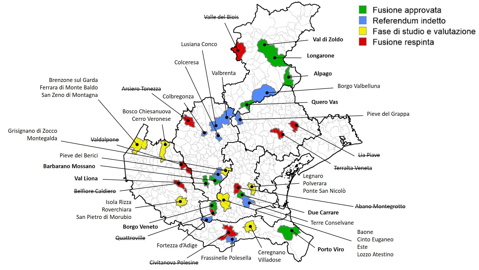 Cartina Dei Comuni Del Veneto.Fusione Dei Comuni In Veneto 10 Referendum E 26 Comuni Al Voto Il Prossimo 16 Dicembre Fondazione Think Tank Nord Est